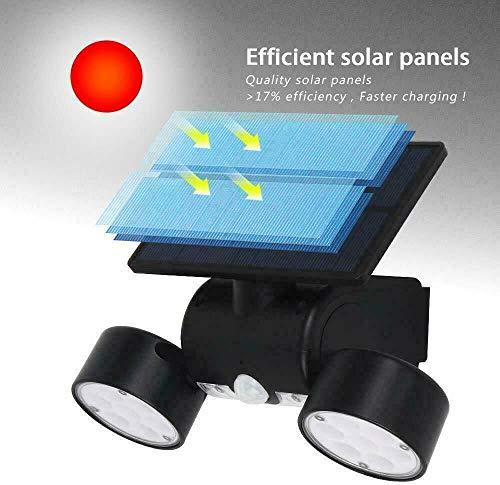 LED-lampen op zonne-energie voor buiten IP65 LED-schijnwerper met bewegingsmelder schijnwerper licht wandlamp voor tuin garage sportveld 2 stuks