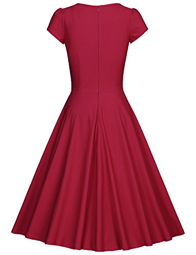 MUXXN Women Retro 1950s V Neck Sheath Waist Bridesmaid A Line Dress (S Burgundy)