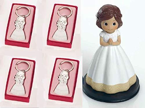 Momparler1870 12 llaveros niña comunión Vestido Blanco y Figura de Tarta - Pack Ideal comunión