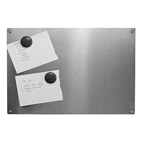 Tablón de notas magnético   Tablero de notas de acero tamaño A3   4 imanes y tornillos incluidos   Organizador para listas y recordatorios   Tableros de anuncios de hogar y oficina   M&W