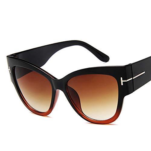 Gafas De Sol Nuevas Gafas De Sol De Ojo De Gato De Diseñador De Marca De Moda para Mujer, Montura De Gran Tamaño, Gafas De Sol Vintage Uv400 Blacktea