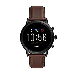 powerful Fossil Unisex 44MM Gen 5 Carlyle HR Heart Rate Stainless Steel and Leather Touch Screen Smart…