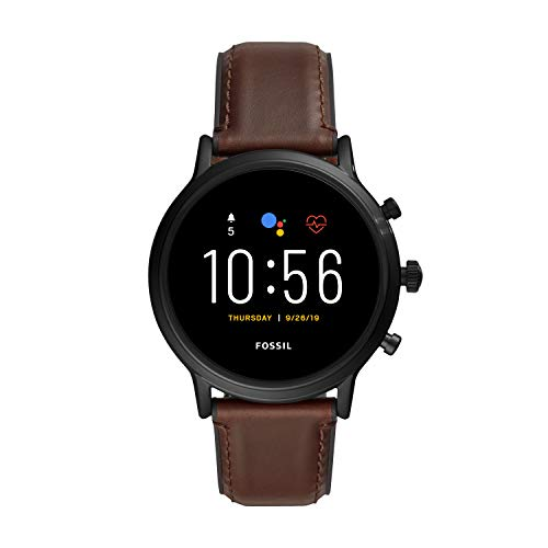 Fossil Unisex 44MM Gen 5 Carlyle HR Heart Rate Stainless Steel and Leather Touchscreen Smart Watch, Color: Black/Brown (Model: FTW4026) Nevada
