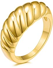 JINEAR 18k Gold Plated Croissant Braided Twisted Signet Chunky Dome Ring Stacking Band for Women Jewelry Minimalist Statement Ring Size 5 to 10
