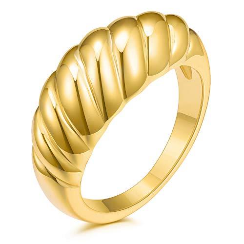 JINEAR Anillo de 14 quilates chapado en oro de 14 quilates trenzado sello grueso cúpula anillo apilable para mujer joyería minimalista anillo tamaño 5 a 9
