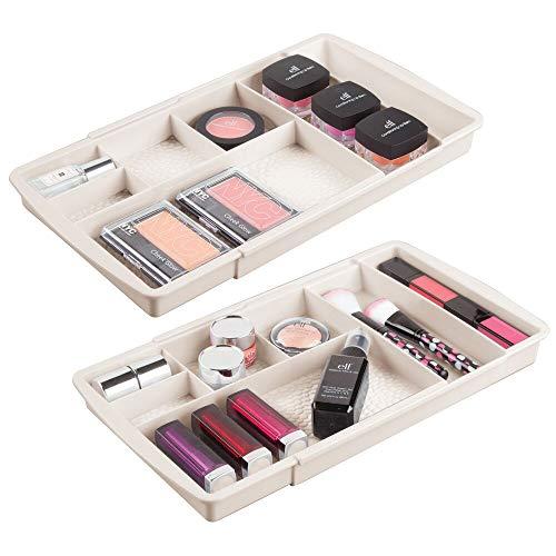 mDesign rangement maquillage (lot de 2) – boîte à maquillage extensible avec compartiments pour le tiroir – rangement make up en plastique pour vernis à ongles, maquillage, etc. – couleur crème