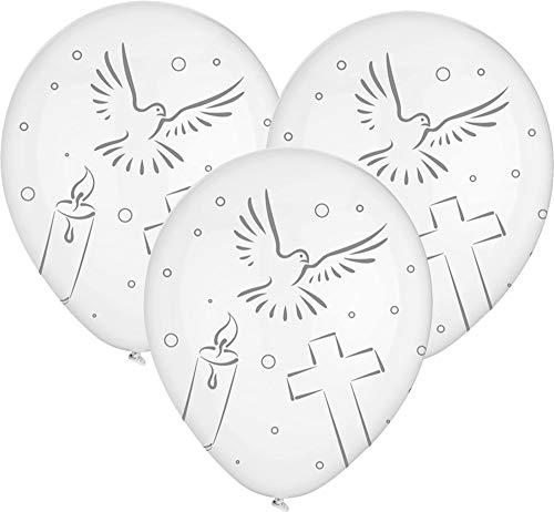 8 Luftballons Taube Kerze Kreuz, Konfirmation Kommunion Taufe, ca. 30 cm Durchmesser