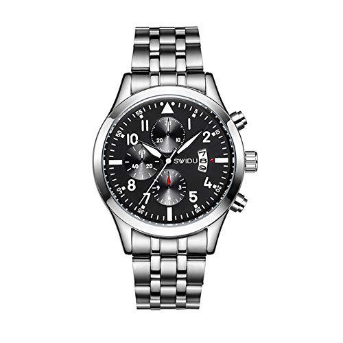 Uomo Orologi Moda Sport Data Impermeabile Watch Chronograph Quartz Business da Polso per Uomo Con La Stainless Steel Band Nero