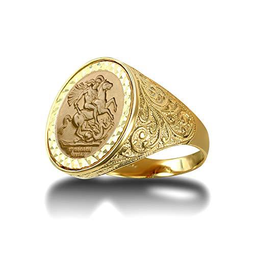 Jewelco Europa Anillo con medallón de oro sólido de 9 ct con grabado floral de San Jorge y dragón para hombre (tamaño medio Sov)