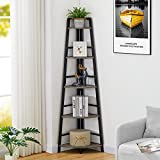 BON AUGURE Rustic Corner Shelf Stand, Industrial 5-Tier Corner Ladder Bookshelf, Wood and Metal Corner Bookcase and Tall Corner Shelving Unit (Dark Grey Oak)