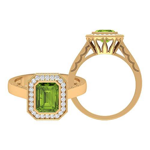 Anello solitario con peridoto 1.89 ct, D-VSSI Moissanite Halo, anello di fidanzamento, 6 x 8 mm, taglio ottagonale, anello nuziale in oro da donna, 14K Giallo oro, Size:EU 56