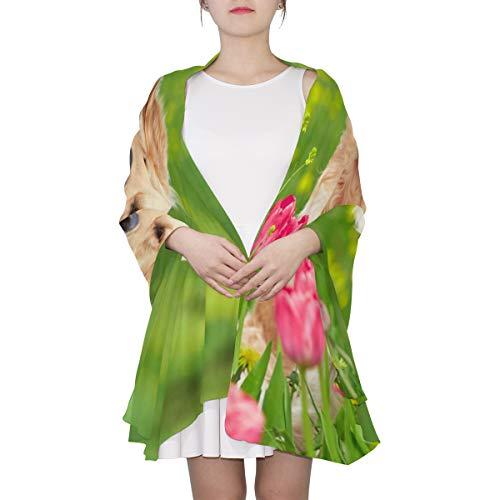 Ahomy Sonnenschutz-Schal für den Strand, Retriever, sitzende Tulpen, Blumenfelder, leicht, für Damen, langer Schal