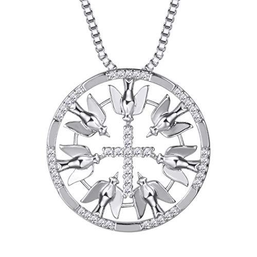 Suplight Damen Kette Zirkonia Kreuz mit Tauben Runder Anhänger Halskette Platiniert Kettenanhänger Schmuck Geschenk für Weihnachtsfeier, Silber