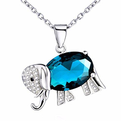 Colgante para chica o mujer en plata de ley 925 y Circonita, con forma de Elefante de la Buena Suerte. Ideal para regalo a tus seres queridos
