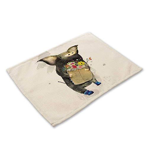 Feixiangge Baumwolle Leinen Kunst Westlichen Mahlzeit Matte Süße Schwein Druck Eine Hand Liefern Geschirr Matte MA0024-6