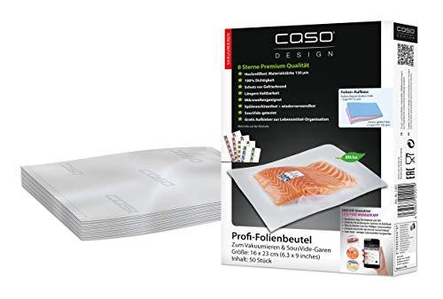 CASO Profi- Folienbeutel 16x23 cm / 50 Beutel, für alle Balken Vakuumierer, BPA-frei, sehr stark & reißfest ca. 150µm, kochfest, Sous Vide geeignet, wiederverwendbar, für Folienschweißgeräte geeignet