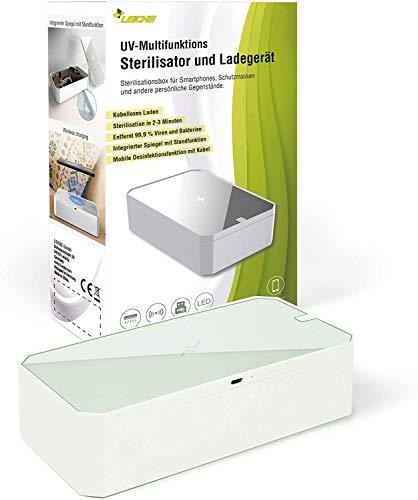 LEICKE UV Handy Sterilisator box | UV Desinfektionsbox mit Wireless Charger, tragbares UV Smartphone Desinfektionsmittel | Ideal für Masken, Handschuhe, Brillen, Schlüssel, Schmuck usw.