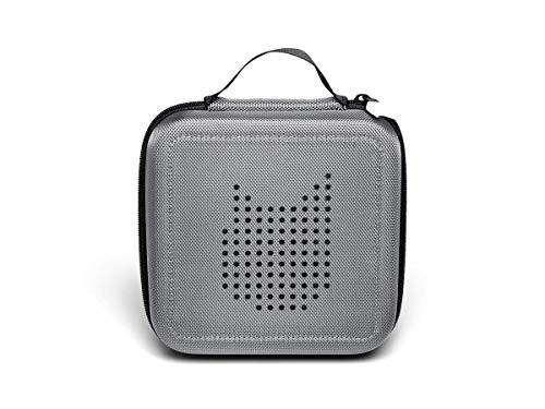 Tonie Transporttasche Anthrazit Grau: Die Box zur Aufbewahrung von bis zu 20 Tonies Hörfiguren - Leicht, Abwaschbar, Reißverschluss, 17,5x17,5 cm