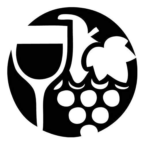 CANGZHOUXIYU Etiqueta engomada del Coche de Polietileno Etiqueta 15.7cm * 15.7cm Copa de Vino y Uvas círculo de la Manera del Vinilo del Coche de la Etiqueta Negro/Plata (Color Name : Black)