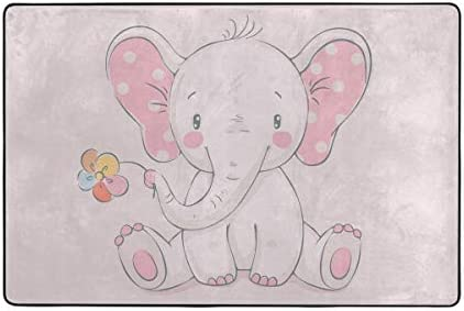 STAYTOP Area Rug Living Room Nursery Style Pink Elephant and Flower Kids Baby Room and Playroom product image