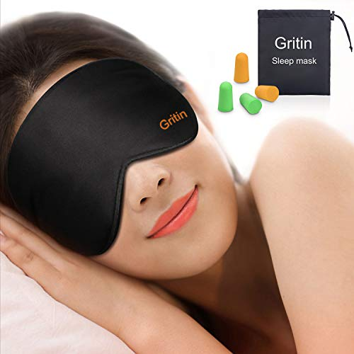 Schlafmaske, Gritin Augenmaske Nachtmaske Verstellbarem Gummiband 100% Hautfreundlich Seide Geruchneutral Schlafbrille mit Ohrstöpseln und Tragbare Tasche - Schwarz