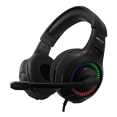 QPAD QH-25 Multiplattform Gaming Headset Stereo und 7.1, Kopfhörer mit LED Beleuchtung, Schwarz