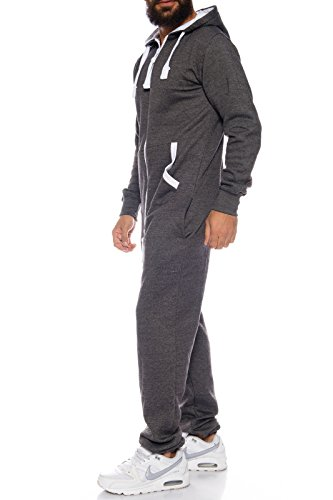 Rock Creek Herren Overall Jumpsuite Onesie Jogger Trainingsanzug [Anthrazit ] - 2