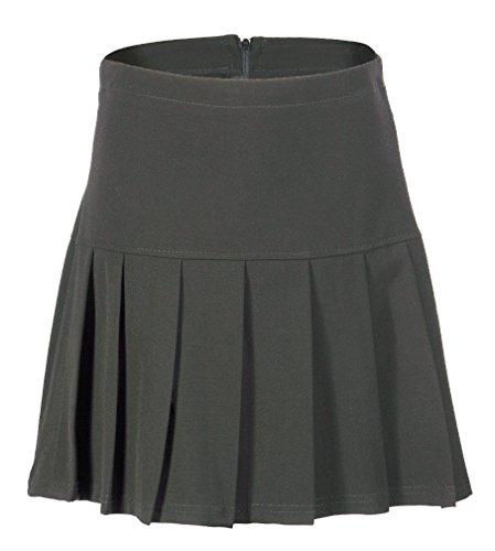 (UK 6-24) Girls Ladies School Drop Waisted Pleated Skirt Formal in Black Grey & Navy