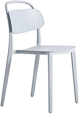 Casual Plastic Back Home Dining Chair Cold Drink Shop Cafe Chair Bearing Weight 250Kg Anti-Fall Anti-Aging,Gray
