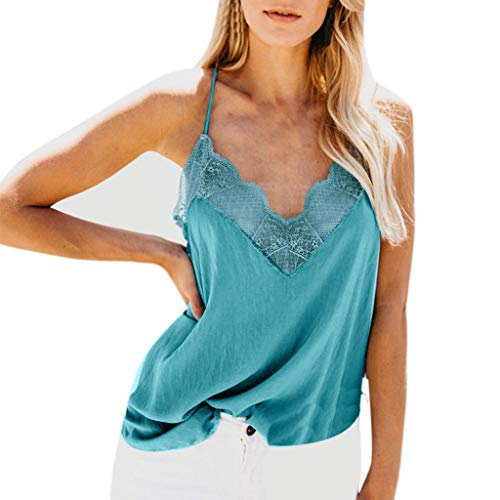 Camisetas Mujer SHOBDW Top De Satén De Seda Verano Playa Camisola Tops De Chaleco Liso con Tiras Sexy Blusa De Las Señoras Camisetas Sin Mangas Casuales Cami Tops para Mujeres(Azul,L)
