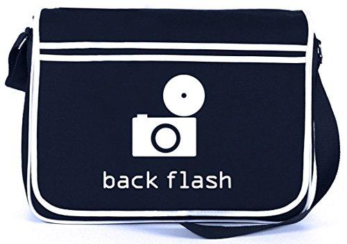 Shirtstreet24, BACK FLASH, Kamera Retro Messenger Bag Kuriertasche Umhängetasche, Größe: onesize,Navy