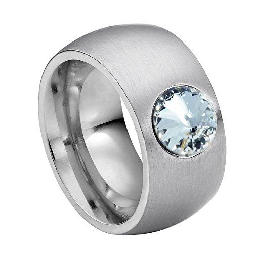 Heideman Ring Damen Coma 11 aus Edelstahl Silber farbend matt Damenring für Frauen mit Swarovski Stein Kristall Weiss im Fantasie Edelsteinschliff 8mm