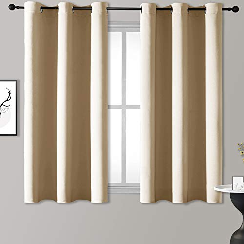 Rutterllow Blackout Curtains for Bedroom, Thermal Insulated Room Darkening Curtains 2 Panels for Living Room, Grommet Top (38x45 Inch, Beige)
