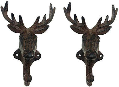 Set of 2 Cast Iron Heavy Duty Rustic Deer Head Wall Hook Keys Towels Hook Vintage Metal Wall Mounted Decorative Wall Hanger Nature Lovers Gift Idea Deer Head