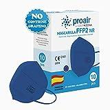 10 uds. Mascarillas FFP2 NR color fabricación 100% Española varios colores, Homologadas CE, EN 149: 2001+A1: 2009, 5 capas con filtrado de más del 95% - ProAir - FFP2 color Azul