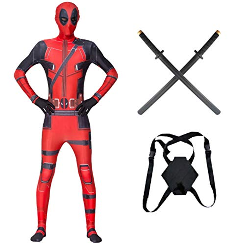 Deadpool Adult Kids 3D Printed Cosplay Costumes comes with PU Swords Children Bodysuit Halloween Party Jumpsuit Performance Theme Party Hoodie,Adults/S(150~159CM)
