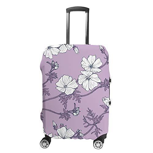 Chehong - Funda para maleta, diseño de flores, color blanco, morado, funda...