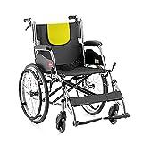 AWJ Silla de Ruedas Manual Plegable, Silla de Ruedas para Ancianos Carro portátil Plegable, Tubo de Acero Asiento para discapacitados para Ancianos Silla de Ruedas Silla de Ruedas de asient