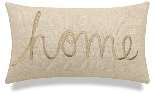 EURASIA DECOR DecorHouzz Burlap Rustic Home Sweet Home Embroidered Decorative Lumbar Pillow for Housewarming Guest Entry Way Family Farmhouse Beach Porch Bench Gift (Home (Offwhite), 12 x20 )