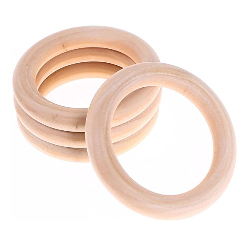 Penta Angel 10Pcs 70mm/2.75' Natural Unfinished Large Wooden Rings Circle Wood Pendant Connectors for DIY Projects Jewelry and Craft Making