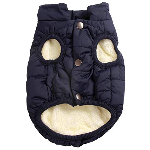 JoyDaog 2 Layers Fleece Lined Warm Dog Jacket for Puppy Winter Cold Weather,Soft Windproof Small Dog Coat,Blue S