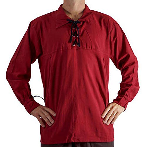 Heflashor Herren Gothic Steampunk Hemd Mittelalter-Hemd mit Schnürung Freizeitshirt Cosplay Rüschenhemd Elegant Gothic Victorian Halloween Elegant Langarmshirt