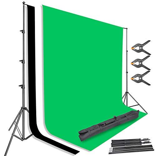 UISEBRT 2,6 m * 3 m Hintergrund Ständer-Support Fotostudio System - mit 3 Farbe 1,8 m * 3m Hintergrund für Produkt Fotografie Portrait Videoaufnahme (2×3M Hintergrund Set)