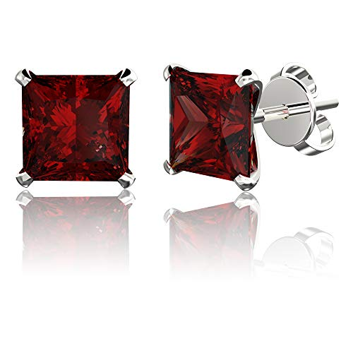 .925 Sterling Silver Hypoallergenic Garnet Cubic Zirconia Princess-Cut Stud Earrings, 6mm