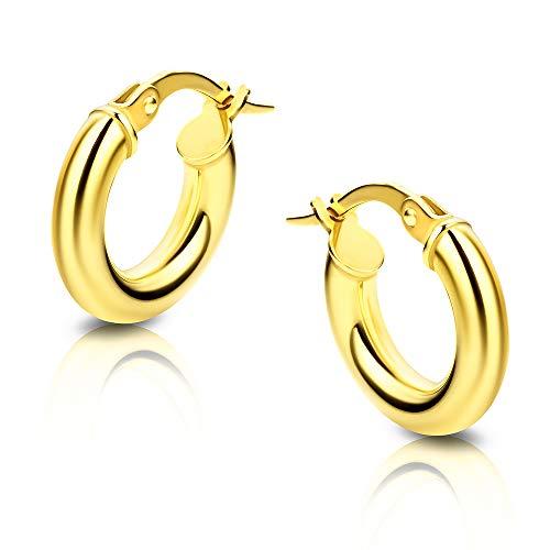 Orovi pendientes de mujer aros en oro amarillo 9 kilates ley 375