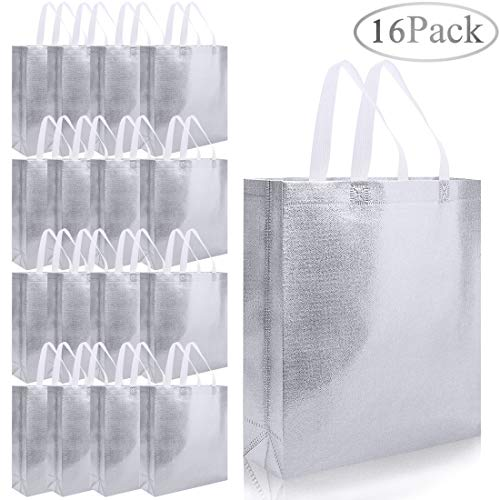 16pcs Glossy Reusable Grocery Shopping Bag, Non-woven Tote Bag with Handle, Stylish Foldable Present Bag Gift Bag, Larger Goodies Bag Promotional Bag for Birthday Party Wedding (Silver)