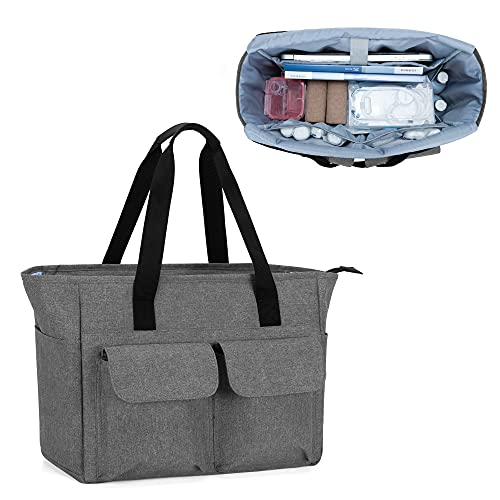 CURMIO Home Health Nurse Tote Bag, Medical Supplies Bag for Work with Padded Laptop Sleeve and Multiple Pockets for Nursing Students, Doctors, Gray