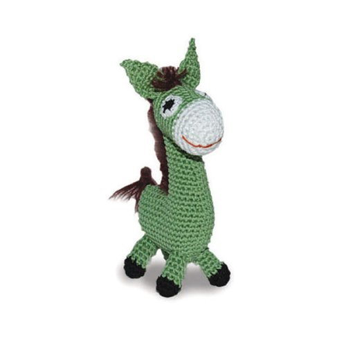 Dog Teeth Cleaning Cotton Crochet Squeaky Dog Toy for Small Dog - Donkey by Dogo