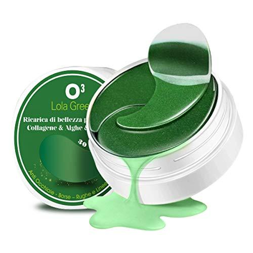 Kolnaix O3 Parche Ojos - 60 Parches Círculos oscuros - Máscara de colágeno contorno de ojos - Espirulina y algas | Mascarilla para los ojos - Bolsas - Arrugas | 30 pares