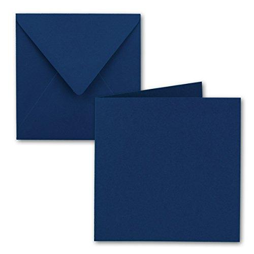 Juego de tarjetas plegables cuadradas de 15 x 15 cm, con sobres de carta, color azul nocturno, 50 unidades, adhesivo húmedo, para tarjetas de felicitación, invitaciones y más